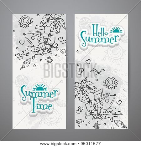 Set Of Vertical Banners  With Summer Doodles