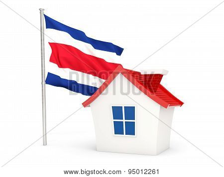 House With Flag Of Costa Rica