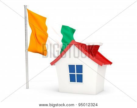 House With Flag Of Cote D Ivoire