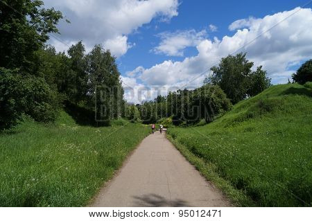 Bicycle walk on a forest path