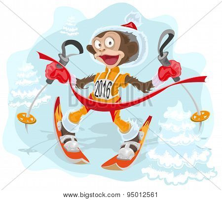 Monkey symbol 2016 goes skiing