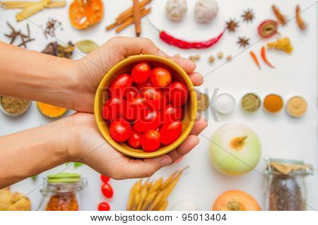 Spices And Herbs In Bowl. Food And Cuisine Ingredients On White Background.