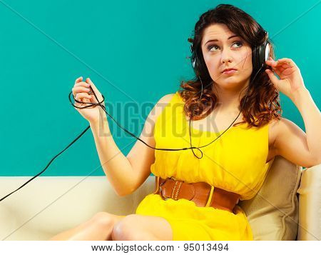 Girl In Headphones Listening Music Mp3 Relaxing