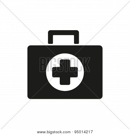 The Medicine Chest Icon. Ambulance Symbol. Flat
