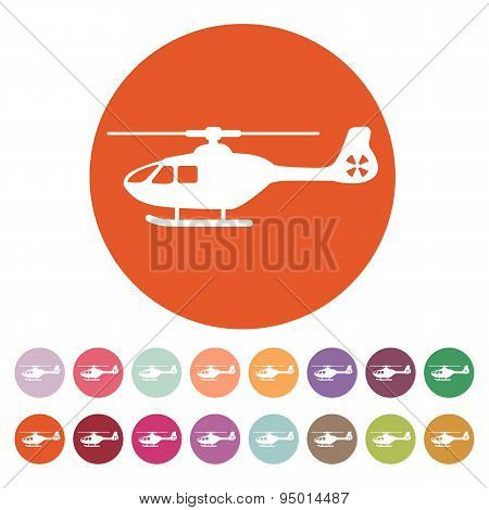The Helicopter Icon. Copter Symbol. Flat
