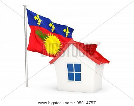 House With Flag Of Guadeloupe