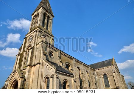 France, Historical Church Of Port En Bessin Huppain In Normandie