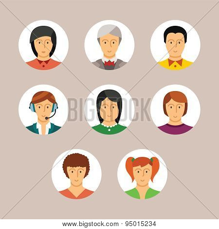Set Of Vector Human Avatars And Characters In Flat Style