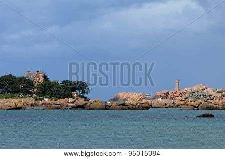 Brittany, Costaeres Castle In Tregastel