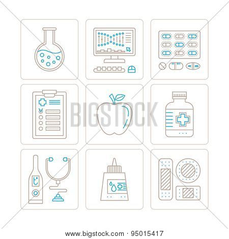 Set Of Vector Healthcare Or Medicine Icons And Concepts In Mono Thin Line Style