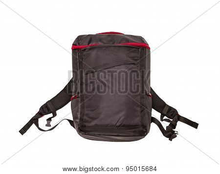 Black Backpack Standing On White Isolate Background.