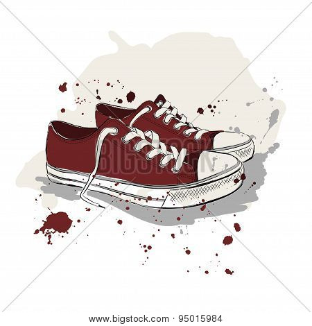 Drawing Vector Illustration With Red Sneakers