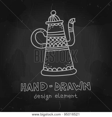 Vector arab coffee pot. Antique arabian teapot. Hand drawn chalk