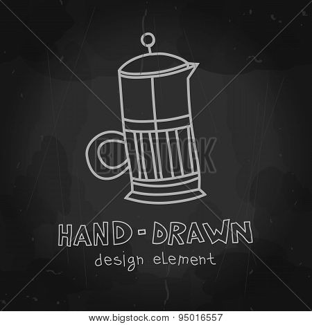 French press. Coffee maker chalkboard drawing. Vector illustrati