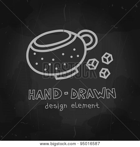 Dotted Coffee cup with sugar. Vector chalkboard drawing. Tea cup