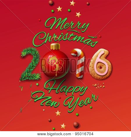 Happy New Year 2016 Greeting Card and Merry Christmas