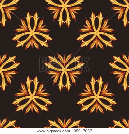 Gold and black luxury retro style seamless pattern background. F