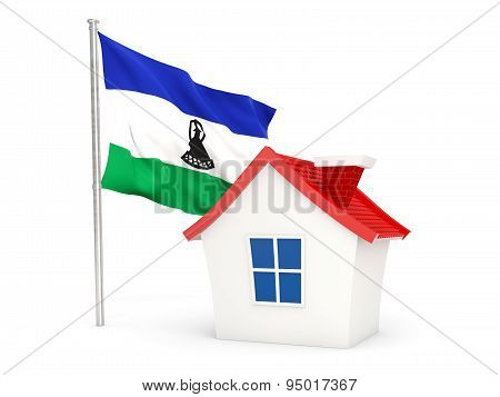 House With Flag Of Lesotho