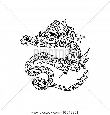 dragon tattoo coloring zentangle