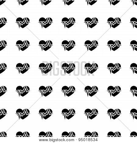 Heart Beat Seamless Pattern. Vector