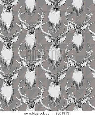 Seamless pattern with deer heads. Hand drawn vector.