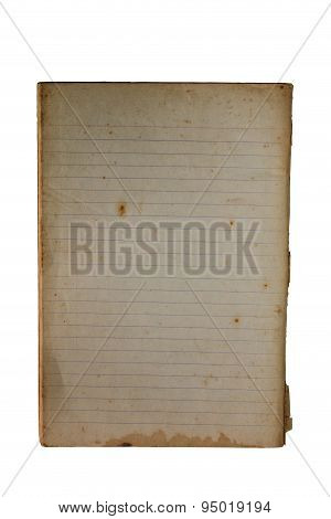 Old Memo Book To Reveal Yellowing, Blank, Lined.