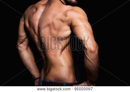 Muscular back and sexy torso of young man. Perfect back muscles and triceps