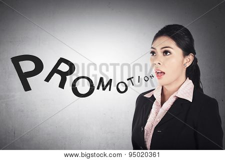 Business Woman Shout Promotion Word