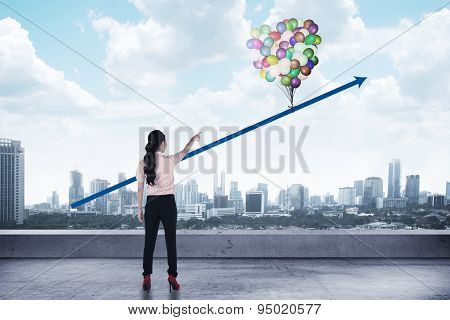 Asian Business Woman Looking Arrow Up