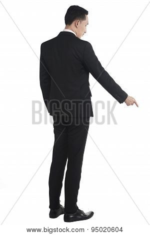 Asian Business Man Pointing Something