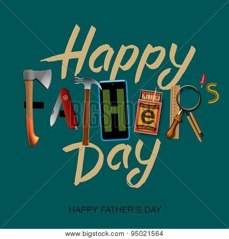 Happy fathers day card, vintage retro design