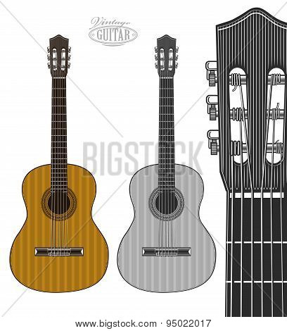 Guitar in engraving style