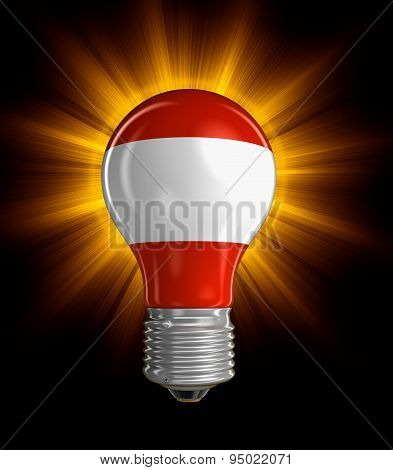 Light bulb with Austrian flag (clipping path included)