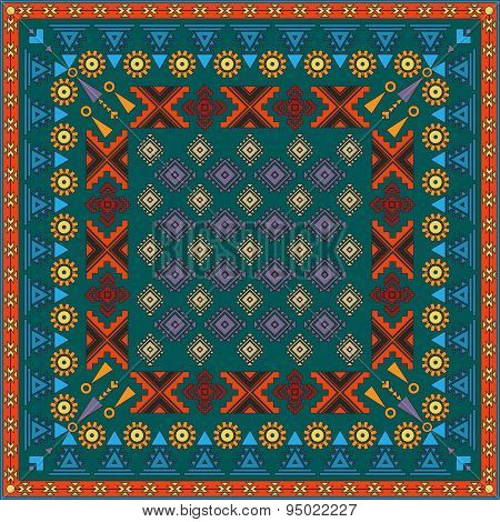 Vintage Bandanna With Colorful Ornate Patterns