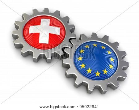 Swiss and European union flags on a gears (clipping path included)
