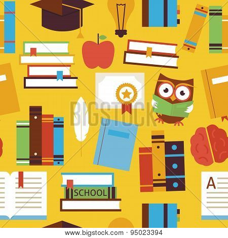 Flat Seamless Pattern Education Books And Knowledge Objects Over Yellow