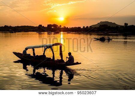 Sunset Dal Lake In Srinagar, Kashmir, India