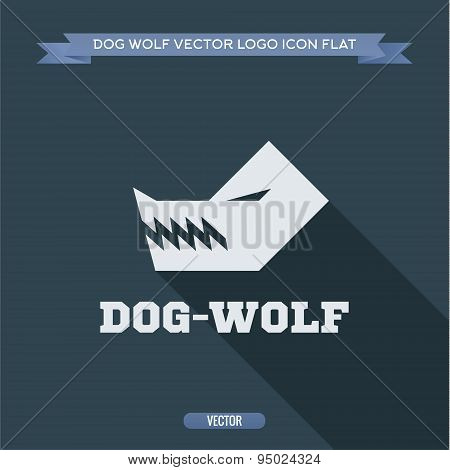Wolf dog angry silhouette with fangs, aggressive, dangerous animal