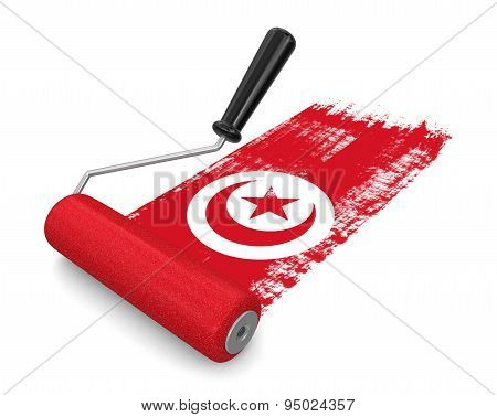 Paint roller with Tunisian flag (clipping path included)