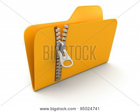 Folder with zipper (clipping path included)