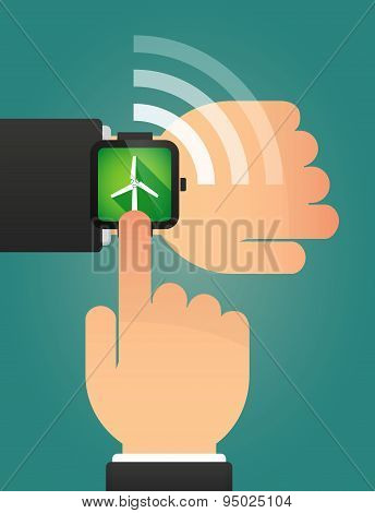 Hand Pointing A Smart Watch With A Wind Generator