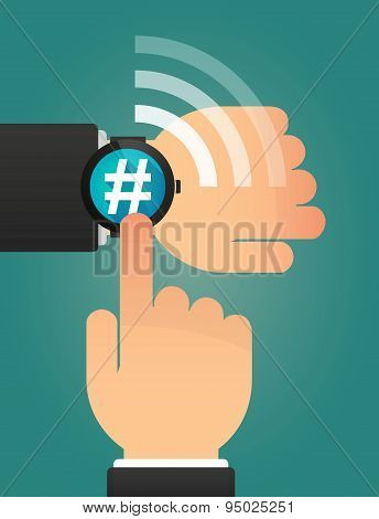 Hand Pointing A Smart Watch With A Hash Tag