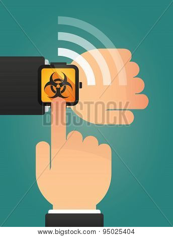 Hand Pointing A Smart Watch With A Biohazard Sign