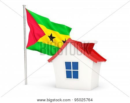 House With Flag Of Sao Tome And Principe