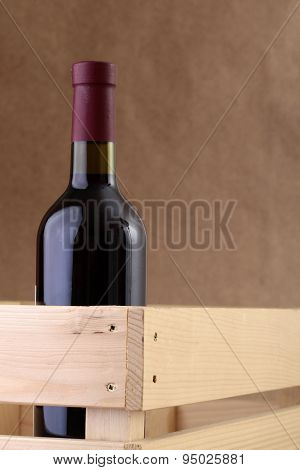 Bottle Of Wine In Wooden Box