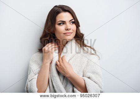 Pretty young woman is after waking up