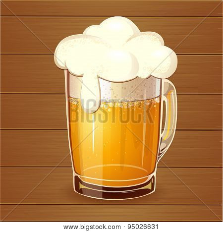Beer In Glass On Wood Background. Realistic Vector.