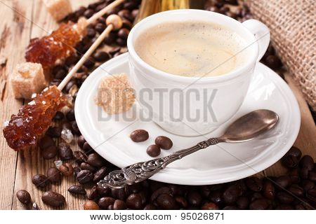 Espresso Coffee cup and Coffee pot