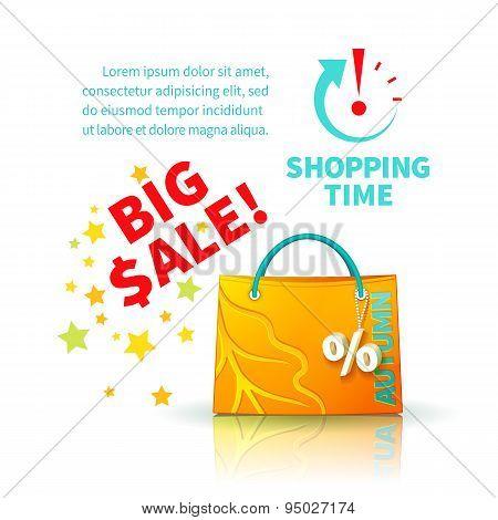 Bright yellow shopping bag