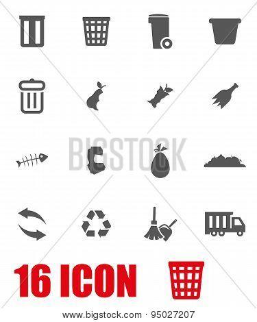 Vector Grey Garbage Icon Set